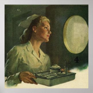 Poster Médecine vintage, infirmière avec les outils