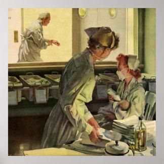 Poster Médecine vintage, infirmières avec les nourrissons