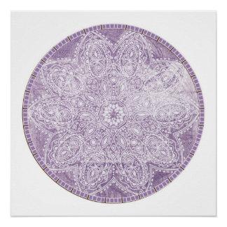 Poster Méditation grunge de cercle de mandala pourpre