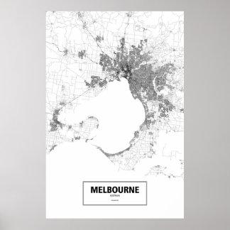 Poster Melbourne, Australie (noir sur le blanc)