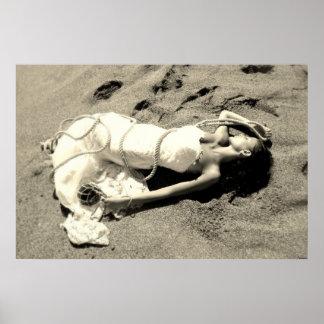 poster mer sable plage noir blanc mariée sirène