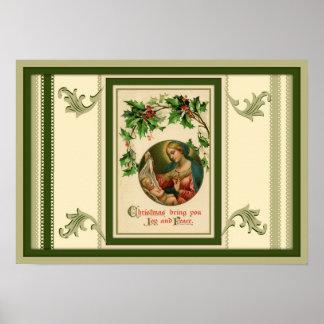 Poster Mère bénie tenant Noël de Jésus d'enfant