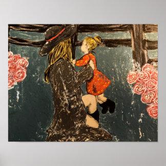 Poster Mère et fille à la ferme