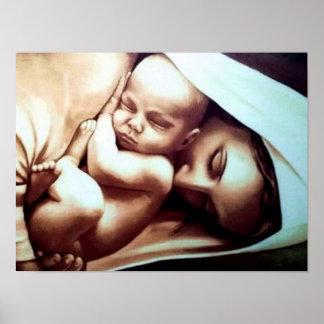 Poster Mère Mary de Vierge avec le bébé Jésus
