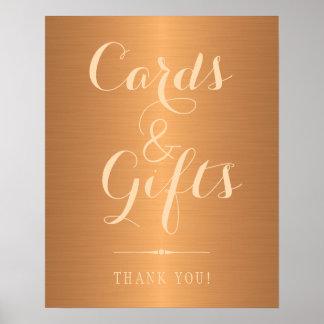 Poster Métalliques de cuivre d'or shinny les cartes et le