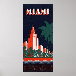 Poster Métropole vintage de Miami des tropiques