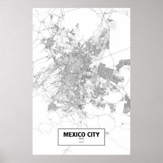 Poster Mexico, Mexique (noir sur le blanc)