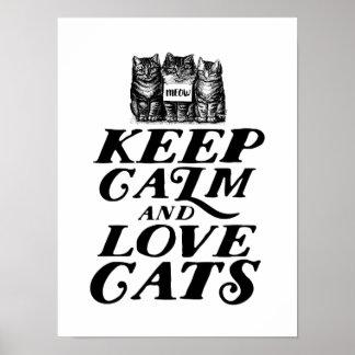 Poster Mignons frais gardent l'affiche calme de chats