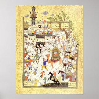 Poster Miniature persane : Aziz et Zulaykha en Egypte