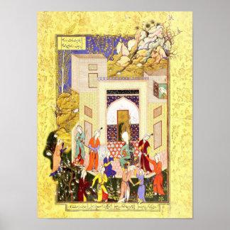 Poster Miniature persane : Jeunes filles de Yusuf et de