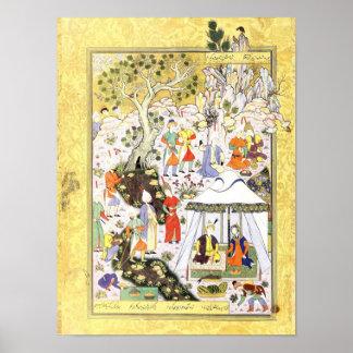 Poster Miniature persane : Khusraw Parviz et Shirin