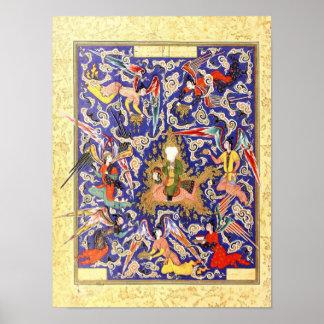 Poster Miniature persane : Le Mi'raj du prophète
