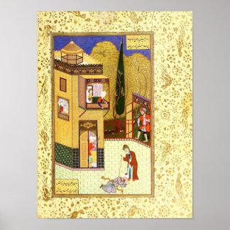 Poster Miniature persane : Le Murid embrasse les pieds du
