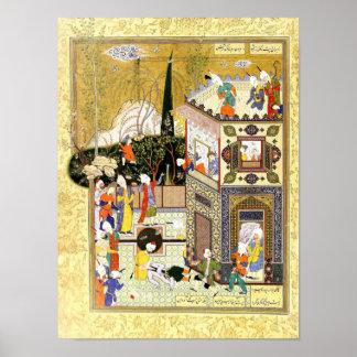 Poster Miniature persane : Le vieil escroc apprend sa