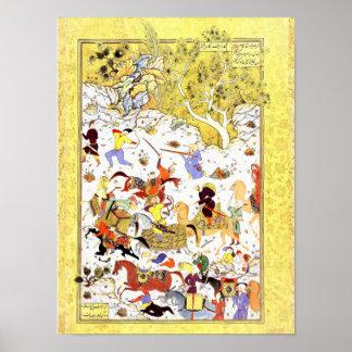 Poster Miniature persane : Les bandits attaquent la