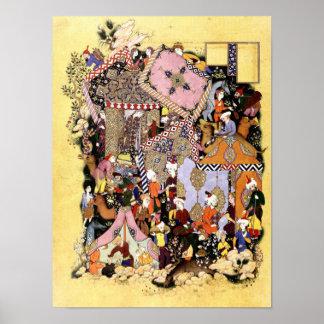 Poster Miniature persane : Majnun approche la caravane de