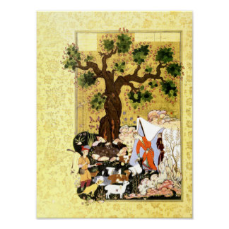 Poster Miniature persane : Majnun dans le déguisement