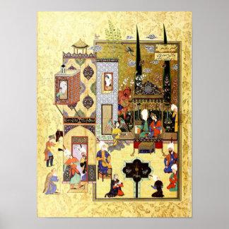 Poster Miniature persane : Solomon et Bilqis ont un