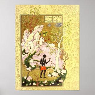 Poster Miniature persane : Un regard dans le miroir