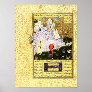 Poster Miniature persane : Un vieil homme sage et un