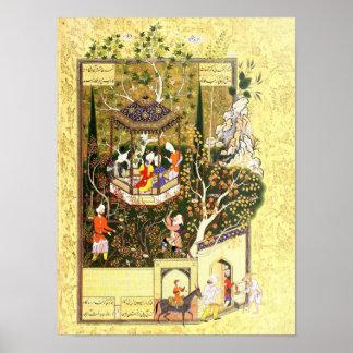 Poster Miniature persane : Voleur dans le verger