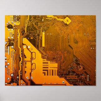 Poster mite jaune de puce d'ordinateur de bord de circuit