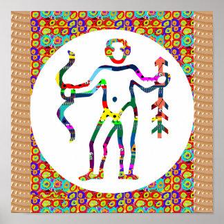 Poster Mode de vie indigène de flèche d'arc de chasseur