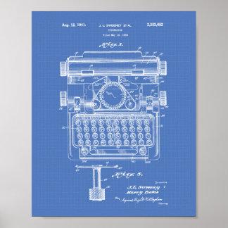 Poster Modèle d'art de brevet de la machine à écrire 1941