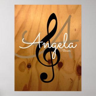 Poster monogramme de musique sur rustique et sophistiqué