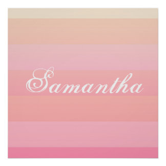 Poster Monogramme rose et de corail d'été de gradient de