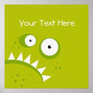 Poster Monstre vert effrayant drôle fâché grincheux