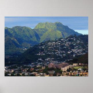 Poster Montagnes de Koolau derrière Honolulu