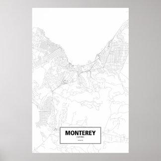 Poster Monterey, la Californie (noir sur le blanc)