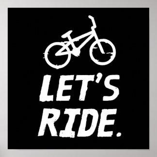 Poster Montons l'humour de cycliste de ville et de