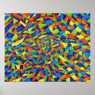 Poster Mosaïque pointillée lumineuse et colorée d'art