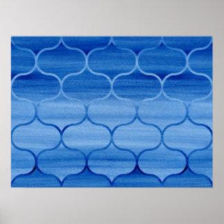 Poster Motif bleu d'Ogee de lavage d'aquarelle