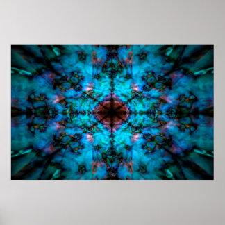 Poster Motif bleu-foncé de kaléidoscope