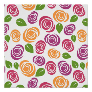 Poster Motif floral de beau rose de remous