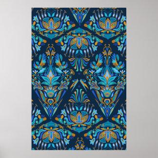 Poster Motif floral géométrique de tradition de mode