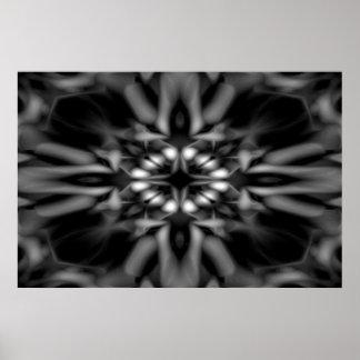 Poster Motif noir et blanc de kaléidoscope