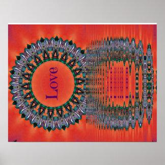 Poster Motif pourpre rouge se reflétant de mandala