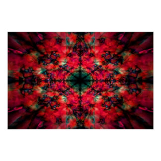 Poster Motif rouge foncé de kaléidoscope