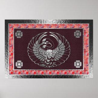 Poster Motif traditionnel 2 de cygne japonais