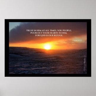 """Poster """"Mots saints"""" : 62:8 de psaume"""