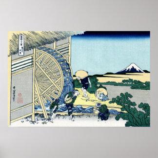 Poster Moulin à eau de Katsushika Hokusai chez Onsen
