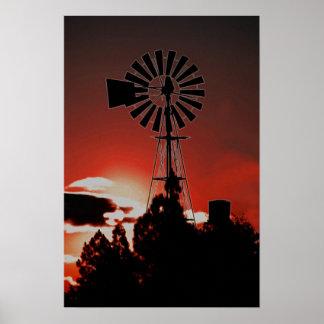 Poster Moulin à vent de ferme au coucher du soleil