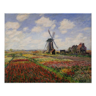 Poster Moulin à vent de Rijnsburg de champs de tulipe de