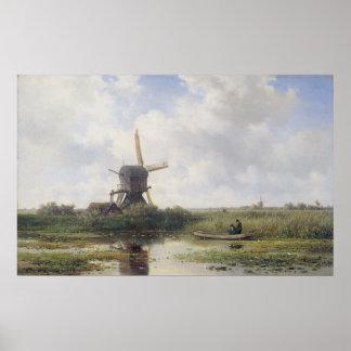 Poster Moulin à vent néerlandais près de rivière de Gein,