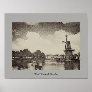 Poster Moulin à vent noir, Haarlem, Pays-Bas