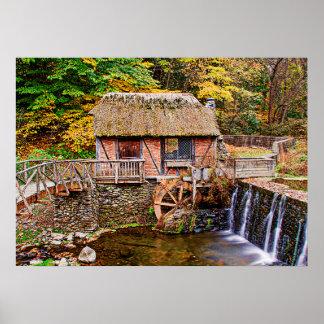 Poster moulin, pont en barrage, Gomez, brique, chute,